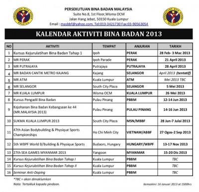 Kalendar Bina Badan 2013