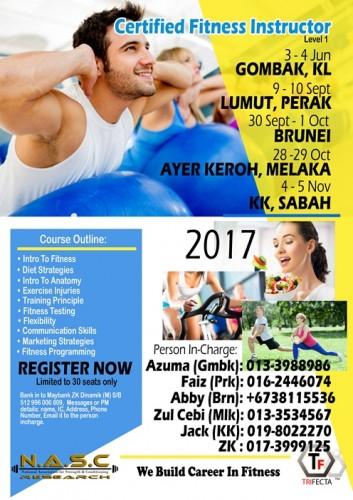 Senarai Kursus Fitness Instructor 2017