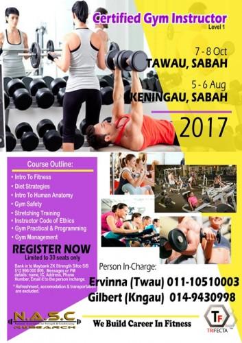 Senarai Kursus Gym Instructor 2017