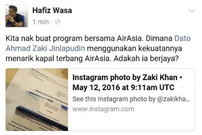 Zaki Khan tarik Air Asia